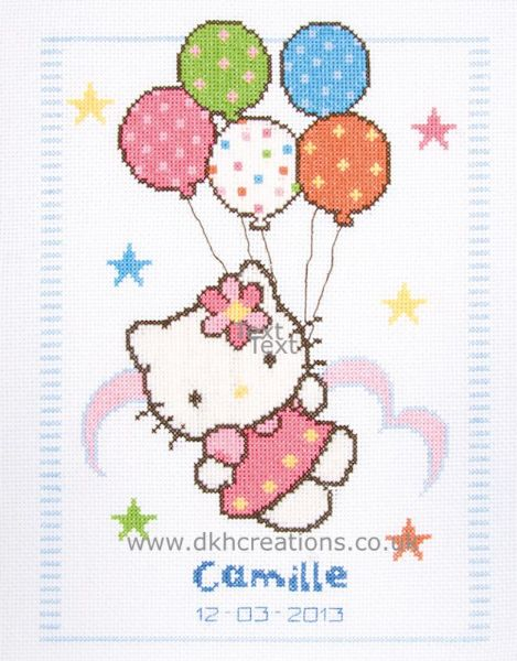 Hello Kitty With Balloons  Cross Stitch Kit